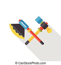axe and hammer flat icon