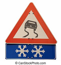Slippery road sign - Warning sign of slippery road surface...