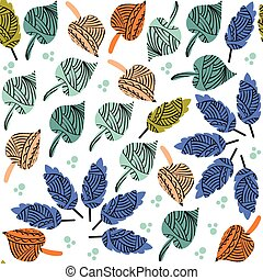 Cute colorful leaf seamless pattern and seamless pattern in...