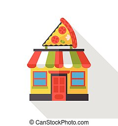 pizza store flat icon