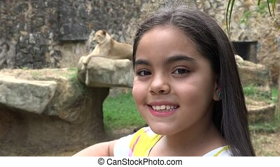 Young Girl Posing with Tiger