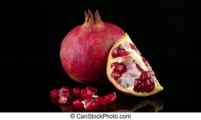 ripe pomegranate fruit - Ripe pomegranate fruit with leaves...