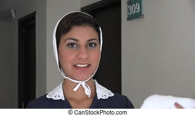 Hotel Maid Happy and Smiling