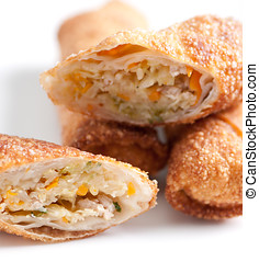 hand made spring roll or egg roll - homemade spring rolls or...