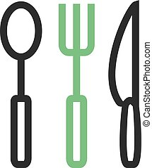 Crockery - Spoon, tea spoon, kitchenware icon vector image....