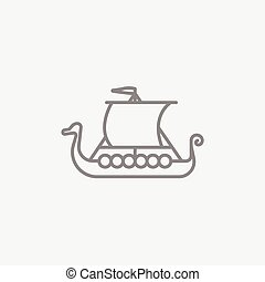 Old ship line icon - Old ship line icon for web, mobile and...