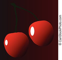 Two Red Cherries - Two cheries with stalks over a dark red...