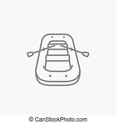 Inflatable boat line icon - Inflatable boat line icon for...