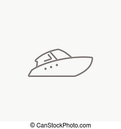 Speedboat line icon. - Speedboat line icon for web, mobile...