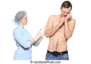 Woman doctor puts a prick. The man is afraid and feels...