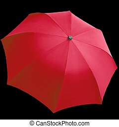 Umbrellas - Red umbrella isolated over a black background