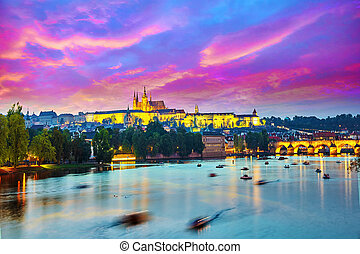 Beautiful view of the Prague Castle and Charles...