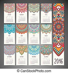 Vector Calendar 2016 - Calendar 2016. Vintage decorative...