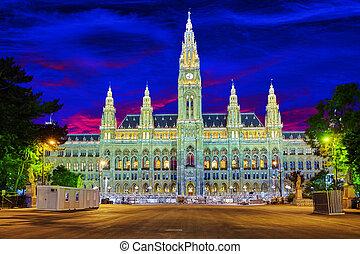 Viennas Town Hall Rathaus at nightimeVienna Austria