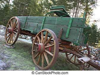 Side view of an old wagon. - A side view of an old vintage...