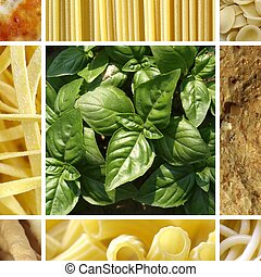 Italian food collage including 9 pictures of pasta, bread,...