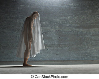Figure hunched over under transparent cloth