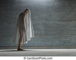 figura, Hunched, encima, debajo, transparente, tela,