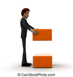 3d man arranging box in order concept