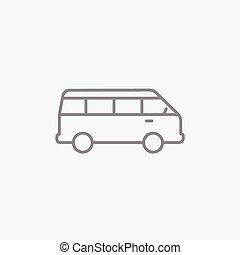 Minibus line icon - Minibus line icon for web, mobile and...