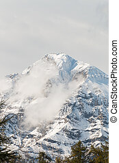 Mont Chaberton with ruined artillery towers on the summit -...