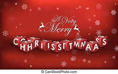 Merry Christmas 3d text on red