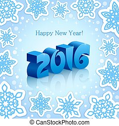 Blue New Year 2016 on Blue background