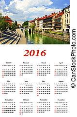 Cityscape, the promenade of Ljubljana. Ljubljana calendar...
