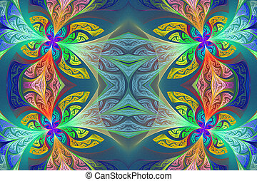 Multicolored Symmetrical flower pattern in stained-glass...