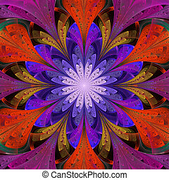 Multicolored symmetrical fractal flower in stained-glass...