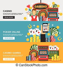 Casino Banners Set - Casino horizontal banners set with...
