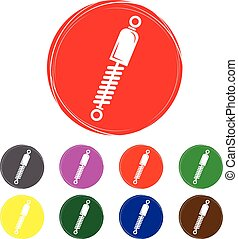 Set of shock absorber icon.