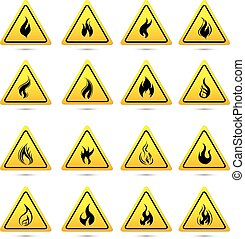 Fire warning sign in yellow triangle Flammable, inflammable...