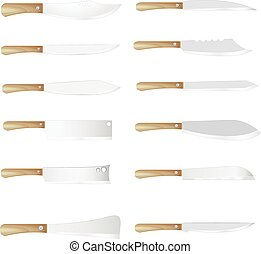 Set of four vector kitchen knives