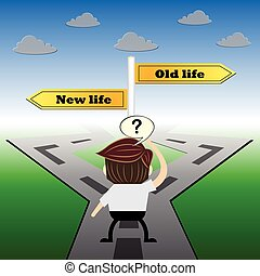 metaphor humour design , New life and old life choice road sign concept,