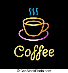 Neon Sign with Coffee Cup on Black Background. Vector
