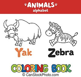 Animals alphabet or ABC. Coloring book - Coloring book or...