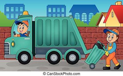 Lixo, cobrador, tema, imagem, 3,