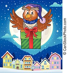 Owl with gift theme image 4 - eps10 vector illustration
