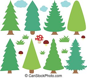Stylized coniferous trees collection 1 - eps10 vector...