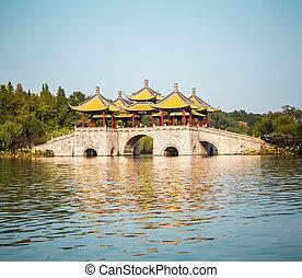 yangzhou five pavilion bridge on slender west lake ,China
