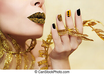 Yellow black manicure%u044E