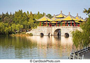 beautiful yangzhou five pavilion bridge closeup on slender...