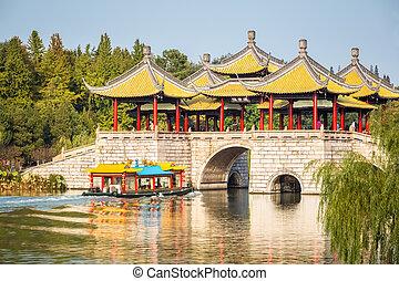 cinco, Pavilhão,  closeup,  yangzhou, ponte