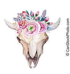 Watercolor cow skull with flowers and feathers. Boho style...