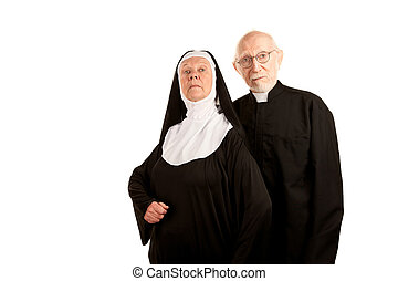 Funny priest and nun - Portrait of funny Catholic priest and...