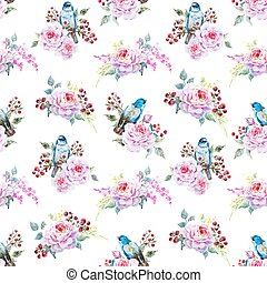 Vector bird pattern - Beautiful vector pattern with nice...