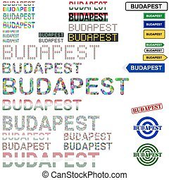 Budapest text design set - writings, boards, stamps