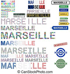 Marseille text design set - writings, boards, stamps