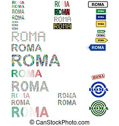 Roma text design set - Roma Rome text design set - writings,...